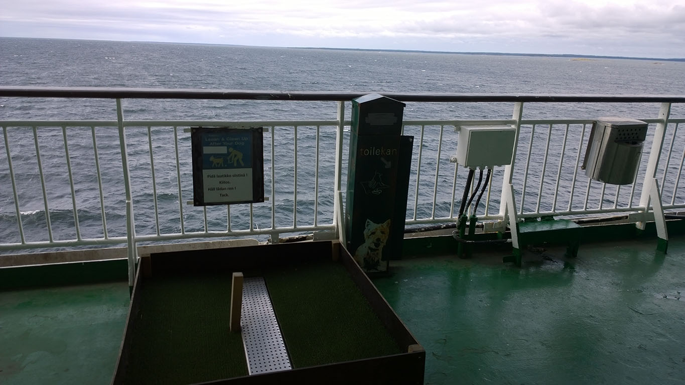 Bicycle Touring in Finland: Viking Line Ferry Toilet for Dogs